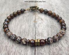 Herren 6mm Perlen Armband, Turritella versteinerten Agate und Bronzit  Von der…