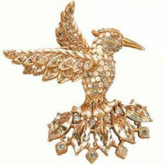Jay Strongwater Hummingbird Brooch Gold Jay Strongwater. $195.00