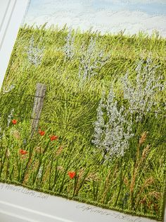 Wolf Willow & Prairie Lilies  Fibre Art by Monika Kinner-Whalen. Painted, freemotion and hand embroidered.http://mysweetprairie.blogspot.ca