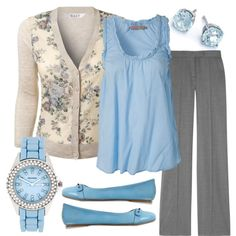 """Teacher, Teacher 22"" by qtpiekelso on Polyvore. Those pants have to go but the blue & sweater are super pretty"