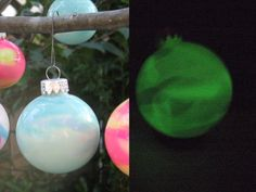 Candy corn colors Glow in the Dark Glass Christmas by ArtAtomic