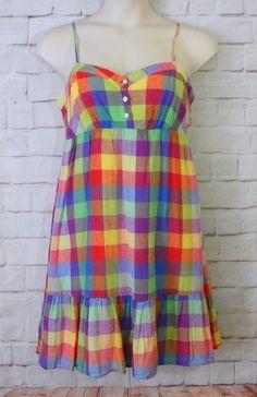Womens OLD NAVY Multicolor Plaid Empire Waist Lined Linen Blend Dress Size Large #OldNavy #EmpireWaist #Casual