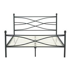 queen size matte black metal platform bed frame with headboard and footboard