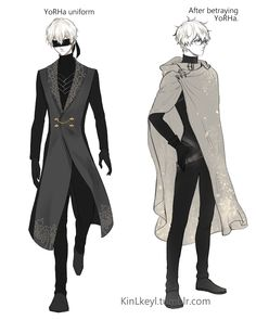 """NieR Automata OC, made by """"KinLkeyl"""" This look like adam and eve in yorha uniform Male Character, Fantasy Character Design, Character Outfits, Character Design Inspiration, Character Costumes, Clothing Sketches, Fashion Sketches, Manga Combat, Modelos Fashion"""