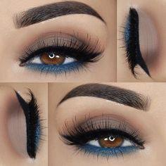 »@morphebrushes 35O palette »@sugarnaturelbeauty eyeshadows 'Cobalt' »Italia Deluxe eye liner pencil 'Satin Blue' »@ponicosmetics 'Pegasus' liquid liner »@houseoflashes 'Featherette' »@tamnovacosmetics 'Mink' brow styling duo
