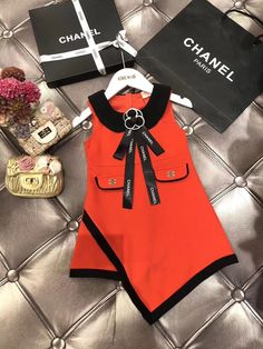 Cute Baby Girl Outfits, Cute Outfits For Kids, Cute Baby Clothes, Chanel Kids, Baby Chanel, Baby Girl Dress Patterns, Baby Dress, Baby Girl Fashion, Kids Fashion