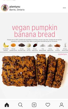 This vegan pumpkin banana bread is a major hit! Not only is it packed with flavour but its a healthy treat you can serve Pumpkin Banana Bread, Gluten Free Banana Bread, Healthy Banana Bread, Vegan Pumpkin, Pumpkin Loaf, Healthy Pumpkin, Healthy Vegan Desserts, Vegan Snacks, Healthy Baking