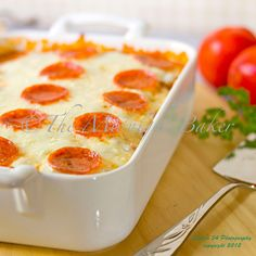 Easy Cheesy Pizza Casserole + Recipe for Herbed Parmesan Drop Biscuits