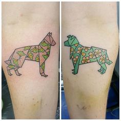 I got to turn @instaanneka dogs into #origami dogs! Such fun! #japaneseorigami #origamiart #origamidogs #origamitattoos #tttism  #wtt #where_they_tatt #japanesetattoo #japanesetattooart #kawaiitattoo #dogtattoo #bluelotustattoo #keithatlin #keithlintattoo thanks for looking