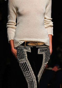 Balmain Fall 2012| black | velvet | black leather belt w/ gold detail |