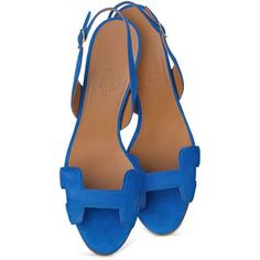 Hermes Blue Night Sandal ❤ liked on Polyvore featuring shoes, sandals, blue shoes, hermès, hermes shoes, hermes sandals y blue sandals