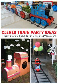 Clever Train Party Ideas + Train Crafts and Food, Too at B-InspiredMama.com #kids #trains #kidsparty #kbn
