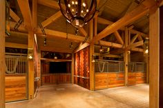 Rocky Mountain Horse Barn by Three Elements Timberworks - featuring Classic Equine Equipment's Legend series stalls