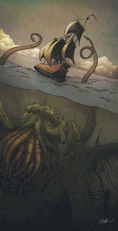 Cthulhu-Kraken awakes by mygrimmbrother.deviantart.com on @deviantART