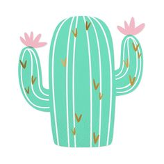Cactus Die Cut Beverage Napkins - These adorable pastel cactus napkins are sure to be a hit at your next fiesta themed party. Item Details: - Pack contains 20 napkins - Napkin size: x - Gold foil Frühling Wallpaper, Pattern Wallpaper, Fiesta Theme Party, Party Themes, Images Lama, Kaktus Illustration, Cactus Clipart, Cactus Pictures, Cactus Drawing