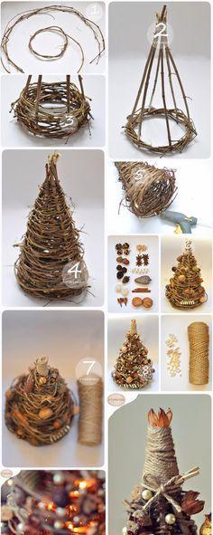 Dekoračný vianočný stromček z prútia | Návod krok za krokom