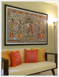 the east coast desi: Blend and Create Style Perfected (Home Tour) Ethnic Home Decor, Indian Home Decor, Moroccan Decor, Madhubani Art, Madhubani Painting, Indian Inspired Decor, Indian Room, Indian Wall Art, Indian Interior Design