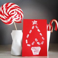 Christmas - Decoration postcard Xmas red and white sweets Red And White, Christmas Decorations, Xmas, Sweets, Create, Gummi Candy, Christmas, Candy, Navidad