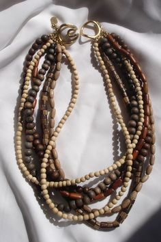 Signed Vintage Wood Bead Necklace