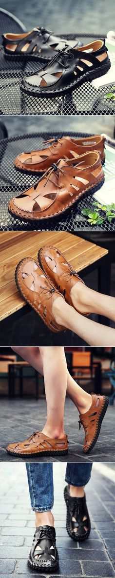 Men Hand Stitching Leather Sandals Soft Hole Breathable Casual Shoes