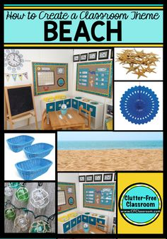 Photos, ideas & printable classroom decorations to help teachers plan & create an inviting beach themed classroom on a budget. Lots of free decor tips & pictures. Classroom Decor Themes, New Classroom, Classroom Design, Kindergarten Classroom, Classroom Ideas, Ocean Themed Classroom, Classroom Organization, Classroom Inspiration, Classroom Management