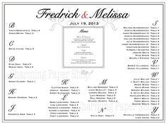 wedding reception seating chart. better than making individual escort cards. #weddingseatingplan