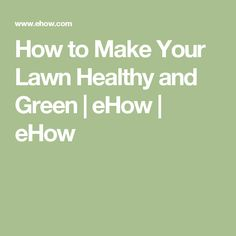 How to Make Your Lawn Healthy and Green   eHow   eHow