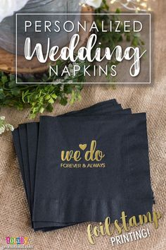Give your reception a high-end look with elegant, letter press foil-stamped #wedding napkins! Select from 41 napkin colors, 28 foil colors and hundreds of templates. Use our state-of-the-art Design Ideas tool to uniquely showcase your name, wedding date or message on these premium napkins! Use coupon code PINNER10 and receive 10% off your napkin order! Sale applies to piece price only, not valid with other coupon codes and expires April 4, 2017!