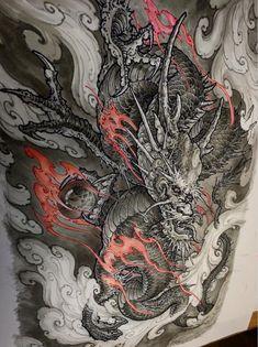 Japanese Tattoo Designs, Japanese Tattoo Art, Japanese Art, Tattos Maori, Yakuza Tattoo, Body Art Tattoos, Sleeve Tattoos, Japanese Dragon Tattoos, Asian Tattoos