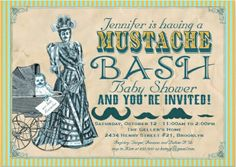Mustache Bash Baby Shower Invitations. Vintage, classic, retro. #dadchelor_party_invitations