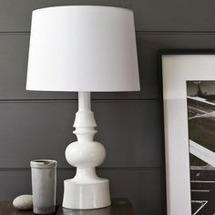 white wooden table lamp - Google Search