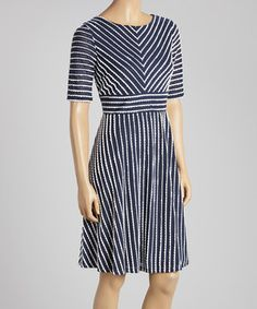 Love this Gabby Skye Navy & Ivory Scallop Stripe Scoop Neck Dress by Gabby Skye on #zulily! #zulilyfinds