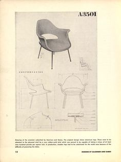 Prize winning chair models by Charles Eames and Eero Saarinen, for MoMA's Organic Design Competition in 1941