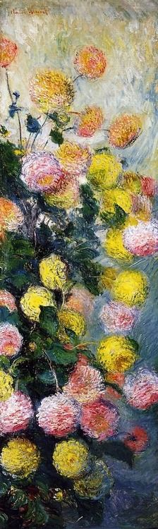 Dahlias 2 by Claude Monet I think Money just might be my favorite.Renoir did amazingly beautiful work as well. Claude Monet, Monet Paintings, Impressionist Paintings, Art Floral, Art Amour, Pierre Auguste Renoir, Camille Pissarro, Manet, Wow Art