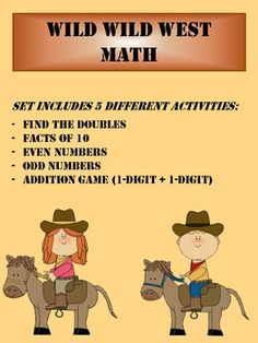 Wild Wild West MATH SET. Includes 5 different Math Activities!