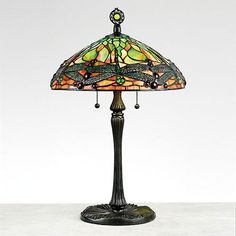 Green Dragonfly Tiffany Table Lamp in Vintage Bronze