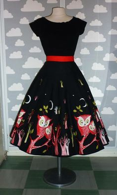 "Reproduction of 50's panel print owl skirt from Penney's. Produced by British brand ""Ruby Belle""."