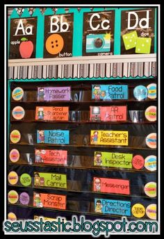 Chalkboard and bright labels! Beautiful colors that will help get your classroom organized with a print rich environment! #seusstastic