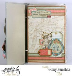 """Come Away With Me"" Travel Journal 1 [Tutorial also on Snapguide] by Ginny Nemchak Design Team for Graphic 45 ~ Mini Albums."