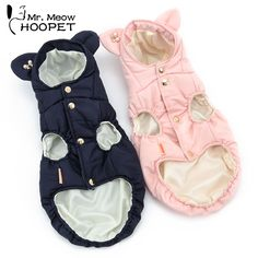 Small Ears Cotton Pet Vest Cat Parkas Warm Thick Pearl Brooch Pink&Navy Blue Autumn And Winter Puppy Clothes
