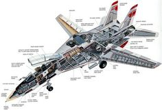 F-14 Tomcat fighter jet cutaway drawing