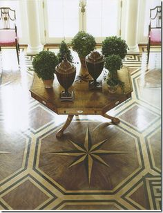 Painted compass wood floor , beautiful design #flooring #painted #floors