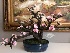 Deco clay bonsai tree hand made using wire armature covered in clay by Kathy…