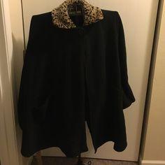 Felt cape Black felt cape with leopard print collar.  Pockets on the sides. Le Mode Jackets & Coats Capes