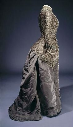 Afternoon Dress with Brocade Bodice, ca. 1875-80via unknown