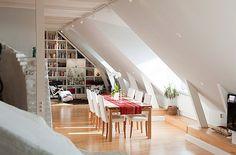 Paris attic Apartments | Attic Apartment Decoration 5 - white red dining room & reading nook