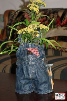 Spar Urethane = Magic! This Rust-Oleum Creator's Studio member turned a pair of her grandson's overalls into a planter for her garden by coating the overalls with spar urethane to make them stiff. Join the Creator's Studio here: www.creatorsstudio.com