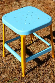 Refinished metal stool