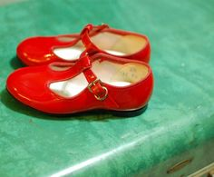 vegan red patent t strap mary janes, toddler size 6 via Etsy