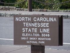 Great Smoky Mountains National Park - State Line Sign